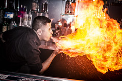 Drink Houston (Impakt Design) Tags: bar club canon fire drink 28mm houston nightclub tricks burning flame burn alcohol spitfire nightlife f18 bartender fastmotion drinkhouston 18f 1160 largeaperature spittingfire alcoholfire canon7d bartendertricks
