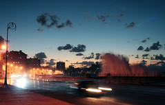 Evening at the Malecón - spot the huge wave! (roomman) Tags: ocean storm cars water car night mexico drive evening la waves driving gulf harbour sandy hurricane havana cuba wave stormy atlantic mexican maritime massive malecon huge habana havanna along immense kuba 2012 lahabana maritim oceanfront hurrikan malec´n