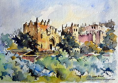 Jerusalem. Damascus Gate. (Laura Climent) Tags: watercolor landscape jerusalem acuarela damascusgate lauracliment