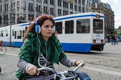 phone-14 (105mm) Tags: city people woman girl amsterdam bike bicycle women pretty phone candid telephone style earphone headphone fiets mensen streetfashion koptelefoon