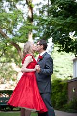 First Kiss! (A Hazard) Tags: wedding outdoor reddress firstkiss
