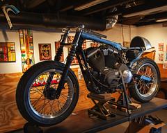 Custom Harley (dingatx) Tags: art austin stand cafe texas garage harley motorcycle custom racer eastaustinstudiotour
