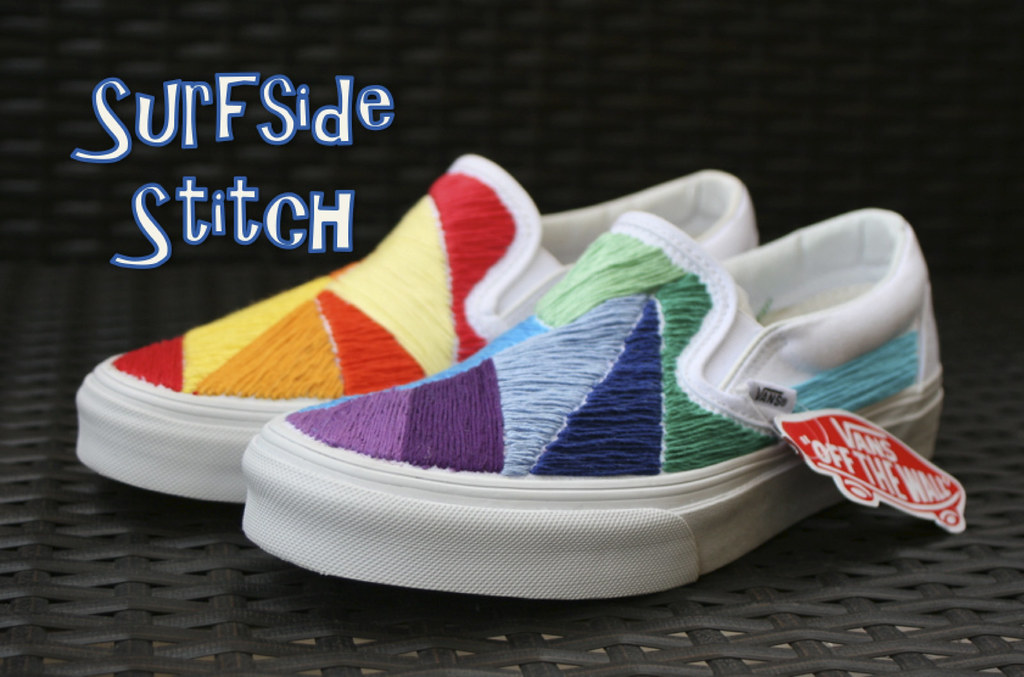 f79b755436bc3a Custom Embroidered Mismatched Vans (hpolanco) Tags  shoes stitch embroidery  needlepoint stitches vans handsewn. Custom Vans Shoes - Sunnyside Lemon ...