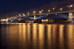 Theodor Heuss Brcke (_David_Meister_) Tags: bridge david reflection water architecture night river germany deutschland wasser nacht brcke rhein mainz reflektion meister blaue theodor stunde heuss