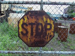 Rusty Yellow Stop Sign (The Upstairs Room) Tags: old ohio sign yellow vintage rust rusty stop rusted rusting ashtabula