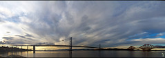 South Queensferry bridges (skol-louarn) Tags: bridge sunset river scotland europe estuary unescoworldheritagesite forth firthofforth southqueensferry ecosse estuaire cityofedinburgh theforthroadbridge lothianandborders patrimoinemondialdelunesco theforthrailwaybridge