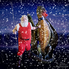 Santa Claus and Rudolph Are Coming to See You Soon (Jibby!) Tags: santa christmas red nose dragon north pole sword glowing rudolph claus barbarian the