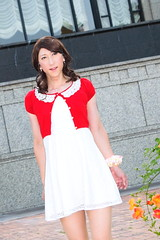 day238-08 red mini cardigan & white race onepiece (Yumiko Misaki) Tags: red white race mini crossdressing transgender transvestite crossdresser cardigan day232 day238 day239 transsexsual lodispotto opepiece
