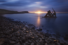 The Speke Wreck, Phillip Island (stevoarnold) Tags: ocean morning sea water sunrise rocks cloudy victoria shipwreck phillipisland wreck goldenlight speke