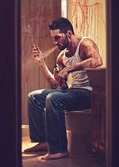 It didn't have to end... like this... (Andrew Kufahl) Tags: portrait selfportrait beer wisconsin bathroom blood nikon mess drink cigarette smoke drinking indoor smoking bloody 2012 indo