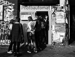 Photoautomat Berlin (Colour Blind Bob) Tags: original girls blackandwhite berlin booth for photo waiting photos group young teenagers nixon coolpix automat develop photoautomat p300 colourblindbob