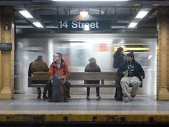 201212029 New York City subway station '14th Street' (taigatrommelchen) Tags: nyc newyorkcity railroad urban usa ny newyork station train subway chelsea manhattan railway tunnel icon transit mta mass r160b 20121249