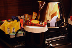 Day 321 - Tea stand (Ben936) Tags: food coffee cookies hotel tea spoon kettle drinks snack biscuits teabags creamer facilities milkpots roomfacilities
