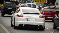 Porsche Panamera Turbo S ([Mixtography]) Tags: street door white back traffic 5 fast polska plate polish s center turbo porsche license warsaw pearl loud centrum warszawa fastback panamera