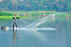 landed ... almost (zuki12) Tags: lake net fisherman waduk kuningan darma