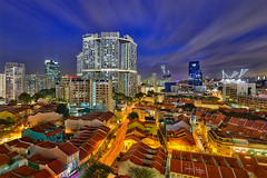 Orchestra and Meastro (draken413o) Tags: blue storm architecture night clouds digital singapore long exposure cityscapes hour hdr pinnacle blend duxton