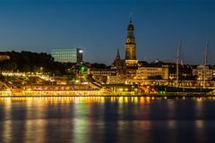 Hamburg - Michel and Harbour at Night (superbart77) Tags: elbe hdr hamburg harbour haven lights michel night sailingship ship skyline gangplank pier landungsbrcken