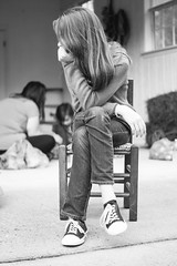 Picturesque (Liza Williams) Tags: longhairedgirl candid portrait bw blackandwhite ga milner easterholiday holiday easter younggirlposedinasmallchair smallchair pose niece
