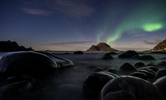 Impossible lights - sunset, aurora, moonlight (Snemann) Tags: nightphotography longexposure pentaxk5 smcpda14mmf28edif troms troms auroraborealis northernlights coastlines coast islands