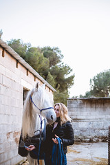 True friendship (neus_oliver) Tags: friends horse white girl model woman canadian stable spain mallorca love animal beautiful sunset brush kiss whisperer