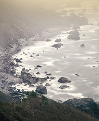 C is for Crumble (Doug Knisely) Tags: grass olympus landscape pacificocean boulders 40150r haze trees ocean redwood cliffs nature omdem5markii redwoods california fog redwoodnationalpark waves rocks shore