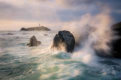 Godrevy Rocks! (Timothy Gilbert) Tags: lighthouse gwithian atlantic sunset waves godrevy panasonic cornwall stivesbay panasonic1235mmf28x coast gx7 rocks