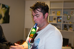 Asdghig and Ashley's party (Gary Kinsman) Tags: london bow e3 fairfieldroad fujix100t fujifilmx100t 2016 party houseparty night evening flash candid unposed bottle beer