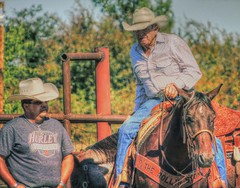 The Way I see It (clarkcg photography) Tags: highinthesaddle viewfromhigher adifferentangle olderandwiser myperspective cowboy arena horse leather cowboyhat portrait mondayportrait7dwf rodeo calfroping jackpot