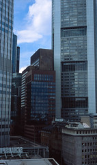 Towers of glass (greendarkroom) Tags: diafilm film frankfurt gebude glas ich mike nikonfm2n praktikum scans slidefilm sommer wolkenkratzer skyscraper glass street roads buildings