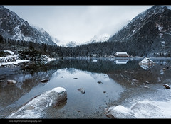 Lakeside Dawn (Steve-P2010) Tags: winter mountain lake snow cold reflection ice water landscape dawn woods wideangle slovakia snowfall snowcovered popradskepleso