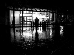 (the mr gnu) Tags: bw man southwales neath rainynight candidstreetphotography mygearandme canonpowershotg12 themrgnu