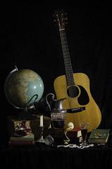 All is Vanity (Vanitas) (lwarren18) Tags: stilllife money art clock table book lemon coin globe candle wine guitar smoke traditional pomegranate pearl peel jewels vanitas goblet