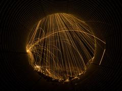 Steel rain (Wroot Down) Tags: longexposure canada lightpainting underground fire spin panasonic yukon infrastructure sparks culvert alaskahighway steelwool yukonterritory fz150 multiplate panasoniclumixfz150