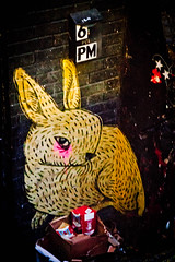 Street art in Williamsburg (Daria Angeli) Tags: street nyc november autumn urban usa ny rabbit art graffiti mural manhattan greenwhichvillage 2012 nightimage inspiredbylove