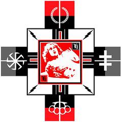 Red Fay (M. de Vena) Tags: red white black film girl collage illustration digital cross movies symbols lightening fay apparel symbolism brassknuckles mysticism fecalface mdevena wwwhumanhydraprojectcom humanhydra