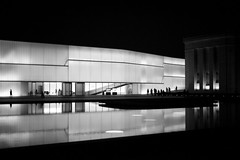 Evening Glow (KVanEmburgh) Tags: blackandwhite reflection water night photography nikon kansascity artcenter nelsonatkins bloch d700 kvanemburgh