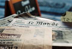 daily in Paris (Twiggy Tu) Tags: trip paris france film newspaper coffeeshop coffeetime 2011 contaxrx