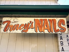 Nail Art (misterbigidea) Tags: street city red urban building beauty sign wall landscape wooden glamour view finger nail letters business nails handpainted hanging salon manicure lettering script stockton tracys signpainter dropshadow bodycare