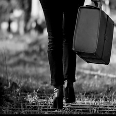 going away (s@brina) Tags: blackandwhite woman silhouette suitcase momentsoflife