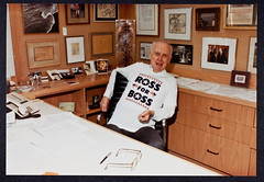 James D. Watson wearing a Ross Perot shirt, 1992 (CSHL Archives) Tags: politics watson 1992 cshl rossperot jamesdwatson