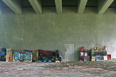 "life under the bridge, ""the homeless"" (Rouben Dickranian) Tags: light holiday art love photography singapore live sunteccity"