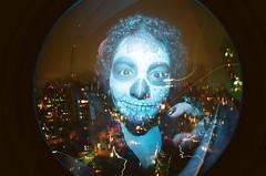#332 ([ iany trisuzzi ]) Tags: selfportrait lightpainting film analog 35mm analgica doubleexposure flash fisheye multipleexposure fisheye2 day332 project365 365days