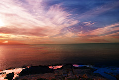 Sunset (pninaN) Tags: sunset sky reflection beach colors clouds landscape israel dor