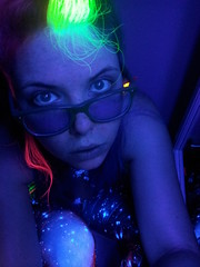 Starry eyed (Megan is me...) Tags: pink blue original light red portrait orange black colour green colors rose yellow self hair effects photography grey glasses diy beads spring amazing cool rainbow eyes colorful neon ray colours mckay purple bright handmade turquoise unique oneofakind ooak awesome flamingo meg violet plum megan style banana special clothes flame blacklight panic colored dye ban atomic punky lampwork dyed sfx manic atomicpink moldavite megface bluemayhem jeromerussell meganisme meganyourface mayhempretty