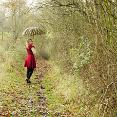 (Sarah-Louise Burns) Tags: wood autumn winter red cold girl umbrella vintage back woods woodlands looking dress style retro