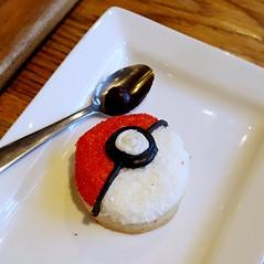 Pokeball Sugar Cookie (SarahJDhue) Tags: food coffee square dessert kayak cookie yum stlouis cellphone samsung coffeeshop spoon sugar mo missouri pokemon sugarcookie pokeball colorvibefilter galaxys6 sarahjdhuephotos sarahjdhue