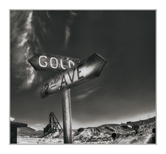 """""""Gold St & 2n Avenue"""" , Gold Point Ghost Town, NV (Vincent Galassi) Tags: firstprintprocessingfromtodaystriptogoldpointghosttowninesmeraldacounty nvgoldst2navenueisthesubmittedprintpentax645d 35mmpentax67lens 1100s f16 iso100couldnotresistincludingaphotoofmytravelingwheelswhichhasprovidedareliablesturdyserviceofnearly70kmilesacrossthisbeautifulcountry goldst2navenue goldpointghosttown nv fine print"""