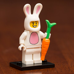 Lego Minifigures Series 7- Bunny Suit Guy (Andrew D2010) Tags: minifig easter man bunny bunnysuitguy suit lego carrot rabbit minifigures guy series7 rabbitsuit bunnysuit minifigure