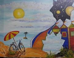 KNOCKING ON HEAVENS DOOR (tomas491) Tags: fantasy bridge stars planets beach parasol sea cycle isle sky cloud sun sand bike oilpainting cabanas palmtree