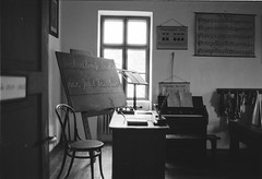 old school (Martin Halmo photography) Tags: bw film analog ilford fp4 nikon fe2 school table vintage old classic plustek optic 8100